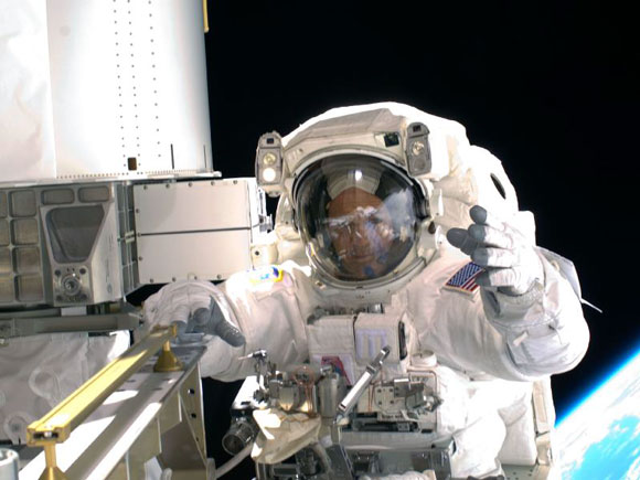 STS-119 First Spacewalk - Arnold