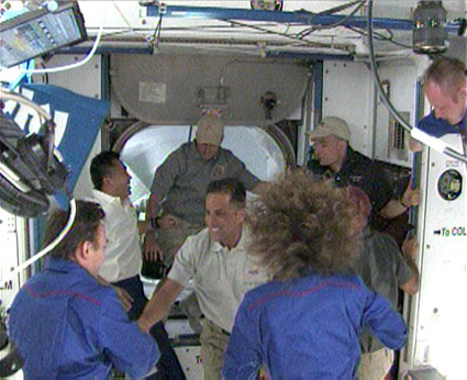 U.S. Discovery STS-119 hatches opened