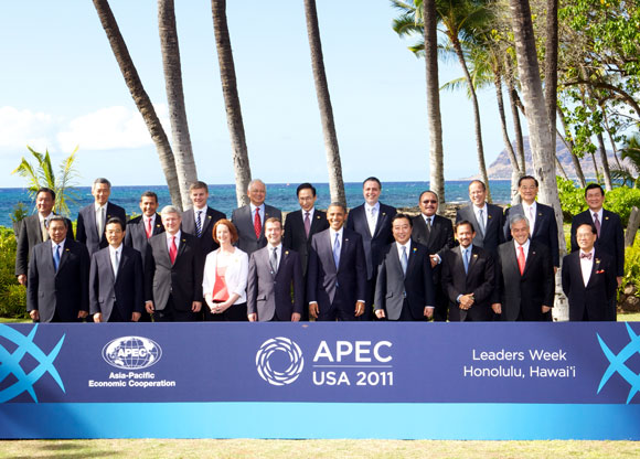 2010年APEC夏威夷峰会领导人合影. APEC 2011 Leader Summit - Nov 13, 2011 Hawaii